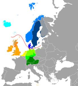 Billede viser de forskellige germanske sprog i Europa. Taget fra Wikipedia. Public Domain.